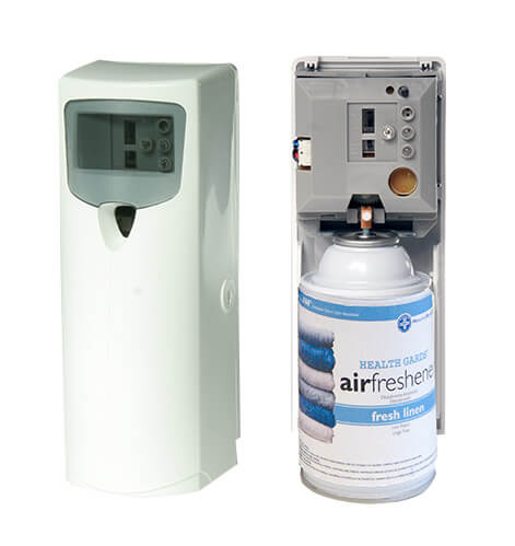 Metered mist automatic aerosol dispensers refills air for Industrial bathroom air freshener